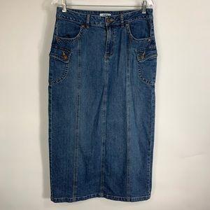 Denim Cargo Pockets Maxi Modest Skirt Sz 8